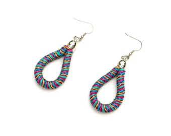 Colorful Textile Earrings, Fabric Earrings, Statement Earrings, Rope Earrings, Summer Festival Earrings, Boho Jewelry, Statement Jewelry