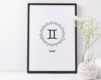 Art Print ~ Gemini Zodiac Sign Mandala ~ Astrology Wall Art, Horoscope Print, Zodiac Sign, Gemini Print, Astrological, Stars, Constellations