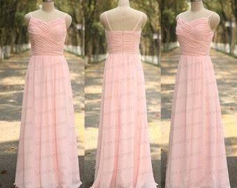 High Quality Pink Bridesmaid Dress Handmade Pink Pleat Chiffon Long Wedding Party Dress Pink Bridesmaid Gowns
