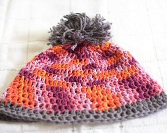 Pink and Grey Crochet Hat