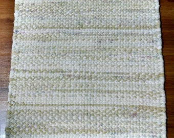 SALE! Free Gift Also!  24 x 32 Twined Woven Rag Rug in Neutral Colors
