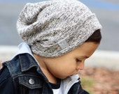 Marble Tan Hipster Beanie / NOXX Beanies / Slouchy Hat / Sweater Knit Hat