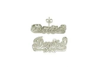 """14Kw-Lee824  - 14K White Gold 1"""" 3D Beadwork Script Letter Name Earrings"""