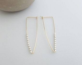Triangle dangle earrings / gold filled / sterling silver beads / lightweight / edgy / unique / dainty / gift / fun