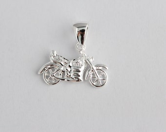 Bike pendant, motorcycle pendant, silver brass pendant, silver bike jewelry, brass motorcycle pendant, pendant gift, gift for her