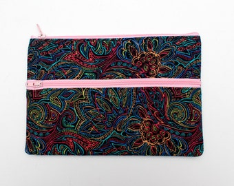 Sale! X Large Rainbow Floral Pattern Pencil case/ Makeup Bag 32cmx15cm With Two Pockets and Pink Zippers