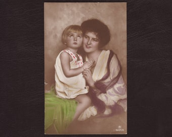 Mother and child - Daughter, woman, praying girl, mother's day, hand tinted vintage German postcard, antique greeting card - 1922 (C1-19)