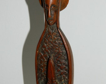 """The Virgin Mary wood sculpture. wood carving """"VIRGIN"""". french vintage religious items"""