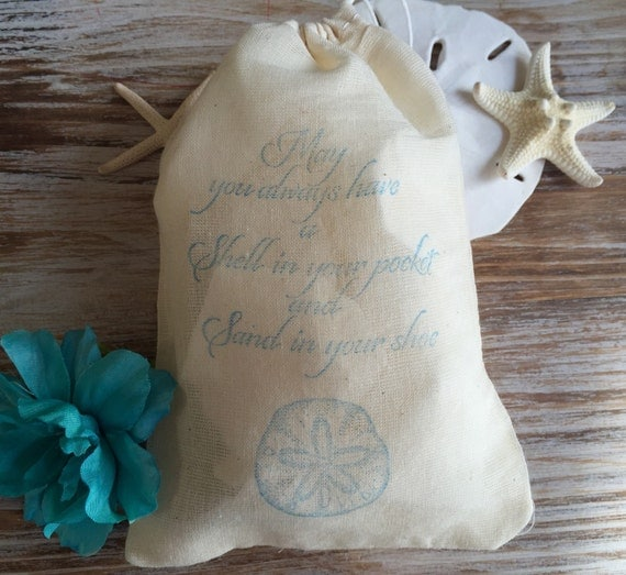 favor bags, beach wedding favors, sand dollar beach favor bags, beach ...
