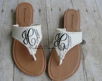 Monogram Sandal, Monogrammed Sandal, Personalized Sandal, White Sandal, Women Sandal, Monogram Sandals, 7, Pierre Dumas,  Slides, Flip Flops