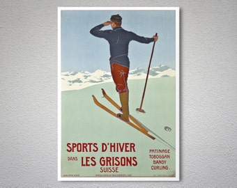 Sports d'Hiver dans Les Grisons Suisse Travel Poster - Poster Print, Sticker or Canvas Print