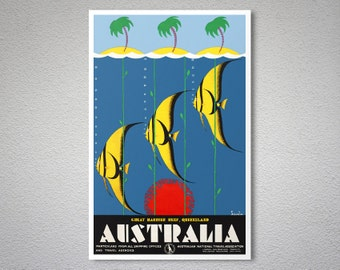 Australia  Great Barrier Reef Queensland - Travel Poster - Poster Print, Sticker or Canvas Print