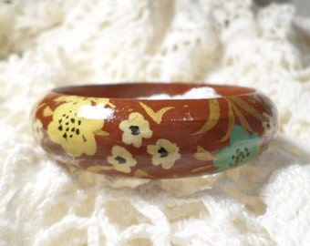 SIGNED INDIA, Vintage Wooden Bangle Bracelet Hand Painted Multi Colored Flowers And Lacquered, Beautiful!  DL#2784