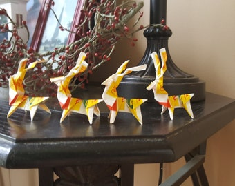 Origami Deer made from Recycled teabag wrapper-Set of 5!