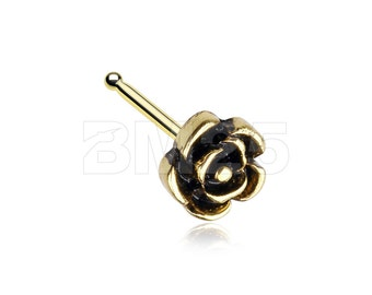 Golden Vintage Rose Icon Nose Stud Ring