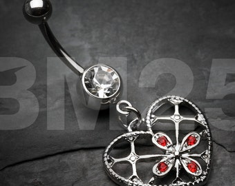 Cardinal Sparkle Heart Belly Button Ring