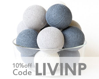 35 Grey Tone Cotton Ball String Lights for Bedroom Baby room Birthday Gift Wedding Party Fairy Patio Decor Night Lights