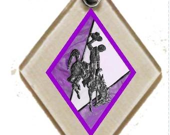 Pendant Wy Bucking Horse & Rider(TM) in Purple, rescued window glass