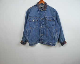 Vintage Blue GAP Denim Jacket with Tapestry Cuffs and Collar