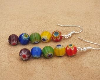 Rainbow earrings, rainbow flower earrings, flower earrings