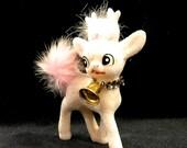 Plastic Flocked Deer, White Reindeer,  White Pink Feathers,  Velvet Deer,  Bell Collar, Retro Fawn, Made In Japan, 1950s