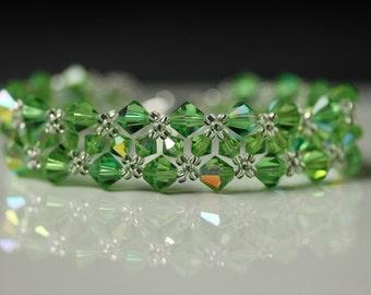 Green Chevron Weave Bracelet