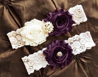 Wedding Garter, Bridal Garter, Plum Garter, Ivory Lace Garter, Keepsake-Toss-Garter, Shabby Chiffon Rosette Ivory Plum Wedding Garter Set