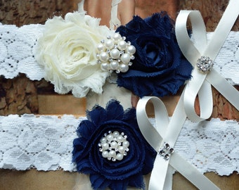 Wedding Garter Set, Crystal Rhinestone Garter Set on a Blue Lace Garter Set with Pearl & Rhinestone