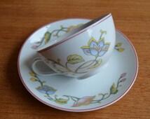 Set of five vintage porcelain cups and saucers, flower decor, Colditz, GDR