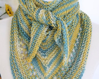 Triangle scarf, bandana style, merino wool kerchief scarf, blue, yellow, gold knit scarf, small shawl or wrap