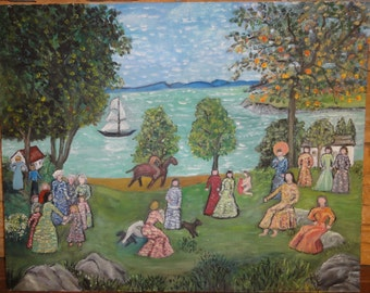 Vintage Folk Art Painting on Board