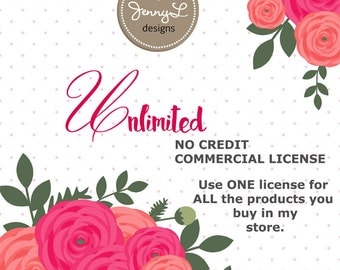 Extended UNLIMITED Commercial License for digital papers and cliparts by JennyL Designs Shop