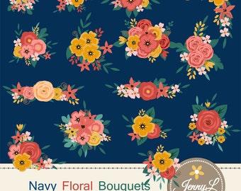 Navy Blue Flower Bouquet Clipart, Peach Wedding Flowers, Shabby Flower Bunches, Floral Arrangement for digital Scrapbooking, Wedding,