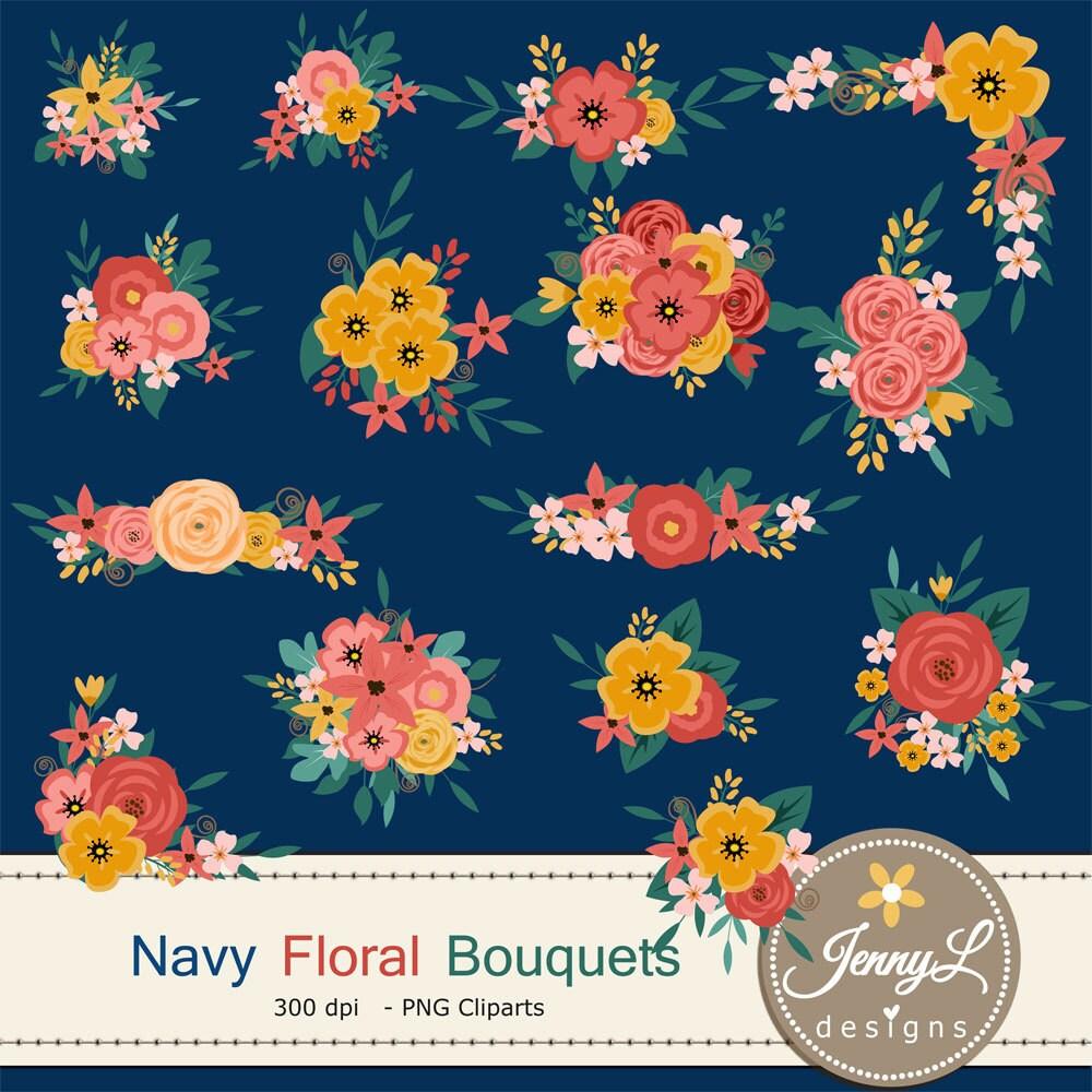 Navy Blue Flower Bouquet Clipart Peach Wedding Flowers