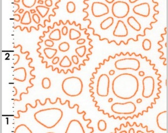 Cycles of Life Cycles Sprockets Orange by Kristen Berger for Maywood Studios MAS8153 O Half Yard Cut and Yardage Available