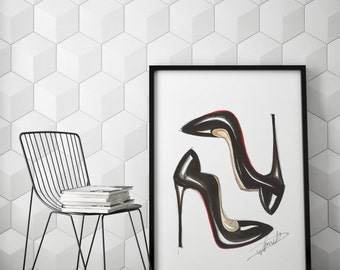 Art poster, High heels poster, Fashion illustration, Shoe art, Fashion poster, Heels poster, Shoes poster, Fashion sketch, Fashionista