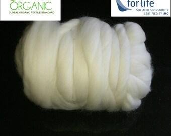 Organic felting wool - organic white needle felting wool - organic Merino roving for felting - ethical Merino wool