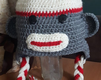 Handmade Crochet Sock Monkey Hat