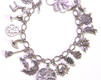 Wheel of The Year - Pagan Wicca Charm Bracelet - Handmade in UK with 17 charms