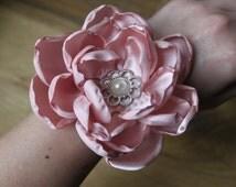 Wrist corsage, satin flower, dusty pink,handmade, wedding, lace bracelet
