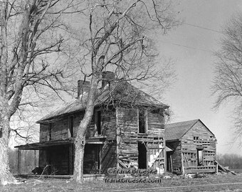Kentucky Farm house, Fine Art Photography, Black & White Photography,  Free Shipping, Frank Brueske,  Rural Kentucky, Slave Quarters