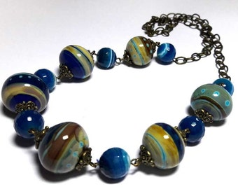 Necklaces.Beaded Jewelry Handmade Lampwork Necklace. Blue, sky, brown, yellow, sand. Agate.