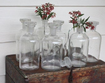 Apothecary Bottles Vintage Laboratory Industrial Decor Wedding Decor