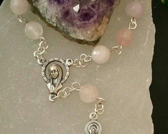 """Rose Quartz Chaplet Rosary """"Love"""""""