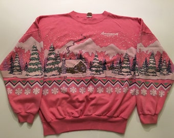 Vintage Leavenworth oversized pink winter scene sweatshirt XL
