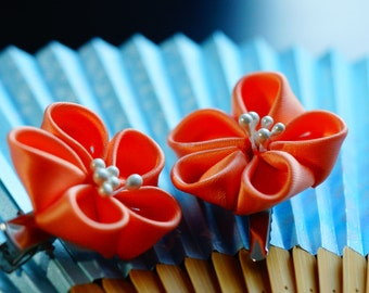 Set of two small plum sakura Kanzashi hair clips