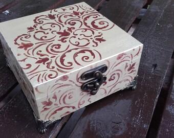 Hand painted wooden jewellery box, keepsake box, gift box.
