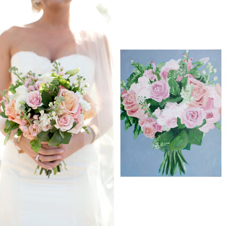 Custom Wedding Bridal Bouquet Floral Painting