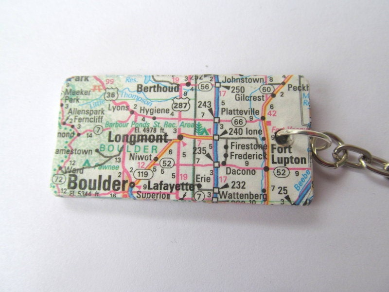 Denver Colorado Map Key Fob Keyring Made With An Original US Map - Colorado us map