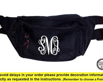 Black Fanny Pack with Monogram, Greek Letters or Text